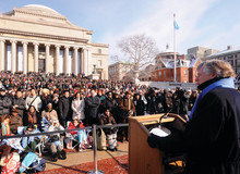 """President Lee C. Bollinger called the inauguration viewing an """"opportunity to be part of something you can be certain will be remembered for ages to come."""" Photo: Eileen Barroso"""