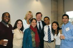 Quigley with students at a Dean's Tea in 2006. Photo: Eileen Barroso