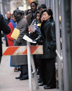 Nearly 4,000 people lined up for jobs outside the renovated Roosevelt Hotel in New York, providing a visual example of how a   rising GDP may not accurately reflect economic conditions in American society. PHOTO: © JAMES LEYNSE/CORBIS