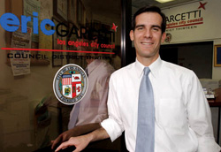 "Garcetti, outside his office, has represented one of Los Angeles' most densely populated districts since 2001 and says, ""The constituents are starved for green space."" Photo: Courtesy Eric Garcetti '92, '93 SIPA"