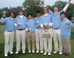 Columbia's men's golf team celebrates winning its third consecutive Ivy League Championship at the historic Baltusrol Golf Club in Springfield, N.J. PHOTO: DAN LAUKATIS