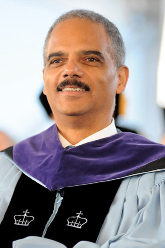 """""""Set your sights beyond the career that will offer the greatest financial reward to the one that will reward your soul,"""" Eric H. Holder Jr. '73, '76L told members of the Class of 2009 as the keynote speaker at Class Day.Photo: Eileen Barroso"""