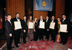 The honorees with their award citations and with the John Jay Scholars who introduced them (left to right), Jacob Weaver '09 with Jealous, Alish Erman '09 with Gyllenhaal, Chelsea Ward '09 with Gregory Wyatt '71, Clifford Shin '09 with Dr. Paul Maddon '81 and Kim Davidson '09 with Thomas Francis Marano '83. PHOTOS: EILEEN BARROSO