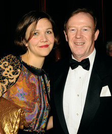 Honoree Maggie Gyllenhaal '99 with Dean Austin Quigley, whose class she attended in her first year at the College.