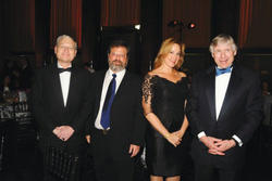 University Trustees (left to right) Philip Milstein '71 and Richard Witten '75 with Milstein's wife, Cheryl '81 Barnard and President Lee C. Bollinger.