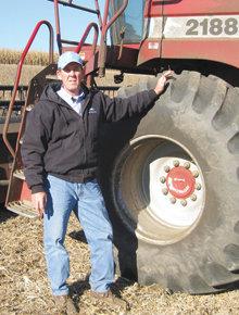 Pennsylvania farmer David Klingerman '72, with tool of the trade Case International Combine, at one of his family's farms during the 2008 harvest season. Photo: David Klingerman Jr.