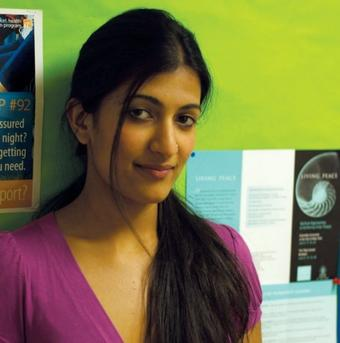 Leeza Mangaldas '11 designed the brochure for Living Peace, as well as the program itself. Photo: Dana Vlcek