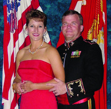 Mike Manuche '80 and his wife, Judy, at the Marine Corps Birthday Ball in 2001. PHOTO: COURTESY of MIKE MANUCHE '80