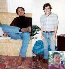 Obama and Boerner snapped photos of each other when they were roommates on West 109th Street. Inset: Boerner today. PHOTOS: Obama and boerner in apartment, courtesy Phil Boerner '84; boerner today: Pern Beckman '84