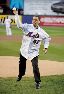 Paterson throws out the first pitch at Shea Stadium last April wearing Jackie Robinson's number. PHOTO: Marc S. Levine, chief photographer, N.Y. Mets