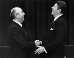 Reagan shakes hands and shares a laugh with Soviet leader Mikhail Gorbachev following a summit meeting in 1985. PHOTO: DENIS PAQUIN, © REUTERS/CORBIS