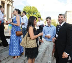 Alumni enjoy the Saturday wine tasting on Low Steps. PHOTOS: EILEEN BARROSO