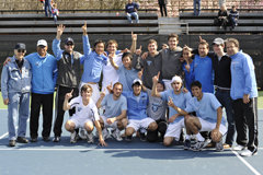 Columbia's men's tennis team celebrates its second Ivy League championship in three years. PHOTO: COLUMBIA UNIVERSITY ATHLETICS