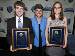 Director of Intercollegiate Athletics M. Dianne Murphy joins Maniatty Award winners Jeff Randall '09 and Hannah Galey '09 at the Varsity 'C' Celebration.