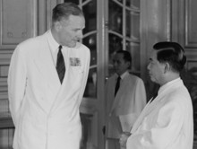 U.S. Ambassador Henry Cabot Lodge (left) presents credentials to President Diem at the Presidential Palace on August 26, 1963. Photo: © Bettmann/CORBIS