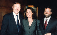 Quigley with trustee Richard Witten '75 and his wife, Lisa '97 TC, benefactors of the Center for the Core Curriculum in Hamilton Hall. PHOTO: EILEEN BARROSO