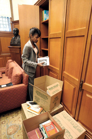 Michele Moody-Adams had much to unpack as she settled into the Office of the Dean in Hamilton Hall. photos: EILEEN BARROSO