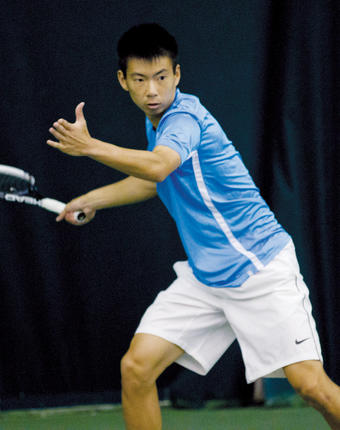 Winston Lin '15 began his senior year ranked No. 8 in the nation in singles by the Intercollegiate Tennis Association. PHOTO: Gene Boyars/Columbia Athletics