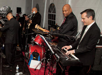 "Garcetti jamming at the 2013 ""Senior Snowball."" PHOTO: COURTESY L.A. MAYOR'S OFFICE"