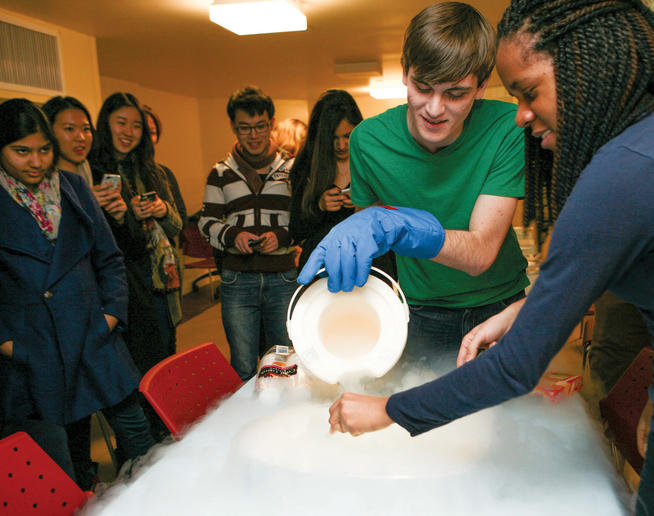 "The Culinarian staff celebrated its ""Food as Science"" issue in January with a party that included a demonstration by the Chandler Society on the chemistry of caramelizing sugar and preparing ice cream using liquid nitrogen."