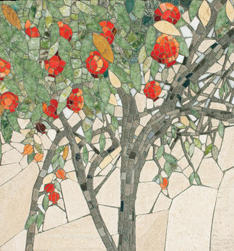 This pomegranate tree mosaic is one of Murray's custom designs. PHOTO: MICHAEL KEENEY