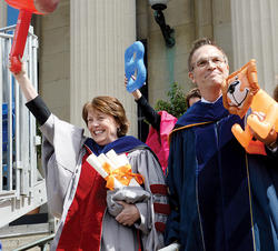 Engineering Dean Mary C. Boyce and College Dean James J. Valentini