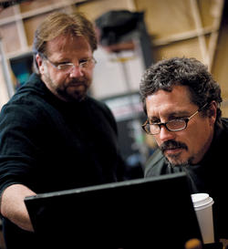 Marlowe (left) and producer-director Rob Bowman on the Castle set in 2012. Photo: Marta Evry