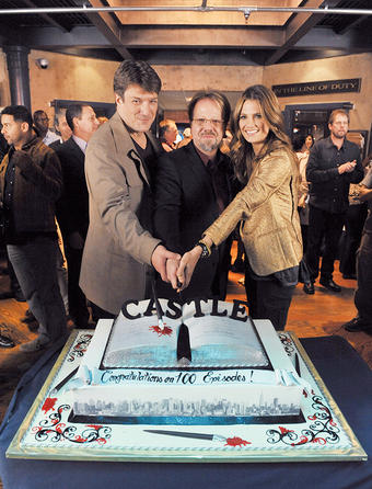 Castle's cast and crew, including Marlowe, flanked by Nathan Fillion and Stana Katic, celebrated the series' 100th episode in February 2013. The milestone show aired on April 1 of that year. Photo: ERIC McCANDLESS/ABC