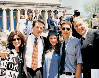 Donna Satow GS'65 and Phillip M. Satow '63 with their children (left to right) Michael '88; Julie '96, SIPA'01; and Jed.