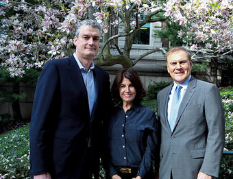 """We believe promoting emotional well-being is an important part of higher education and life readiness,"" says John MacPhee '89, PH'12 (left), The Jed Foundation CEO, with Donna Satow GS'65 and Phillip M. Satow '63 on campus this past spring. Photo: Char Smullyan GS'98"