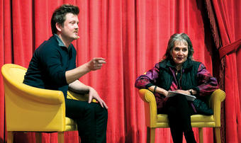 House of Cards creator Beau Willimon '99, SOA'03 in conversation with Professor Annette Insdorf.PHOTO: DAVID DINI SIPA'14