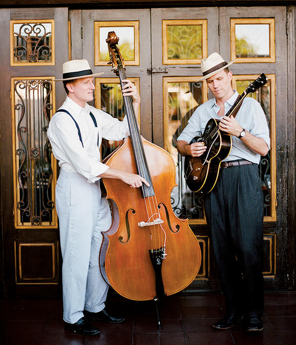 Fuller Condon '00 (left)  and Andy Bean '01  bring humor and  sophistication to the  vintage folk revival  group The Two Man  Gentlemen Band. PHOTO: COURTESY THE TWO  MAN GENTLEMEN BAND