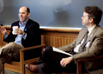 Michael Behringer '89 (left) and Stephen  Jacobs '75 led a discussion on reunion giving. Photos: Tina Gao '10 Barnard