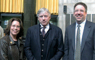 President Lee C. Bollinger is flanked by Special Adviser Susan Feagin and E.V.P. for University Development and Alumni Relations Fred Van Sickle. PHOTO: CHRISTIA BLOMQUIST