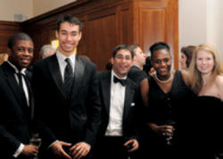 Among the young alumni enjoying the dinner were (left to right) Charles Pippen '08, James Williams '07, David Ali '07, Donna Desilus '09 and Kelly Gavin '06.
