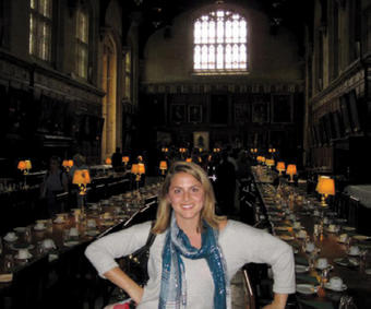 Nayia Moisidis '11 made the jaunt from London to Oxford, visiting the Hogwarts dining room used in the Harry Potter movies.