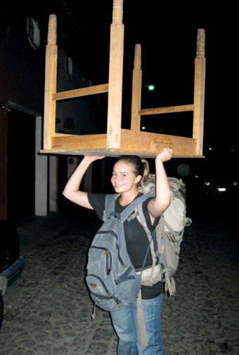 "One of the benefits of working for a small nonprofit is that Rebecca Pryor '09 gets to do ""everything under the sun,"" including carrying tables on her head from one office to another in Guatemala."