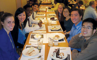 Internships abroad aren't all work, as a group of students show as they bond over dinner in London.