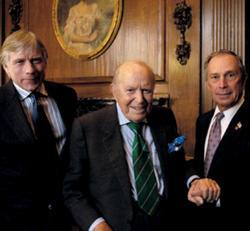 President Lee C. Bollinger (left) and New York City Mayor Michael R. Bloomberg joined John W. Kluge '37 at the April 11, 2007, announcement of his $400 million pledge for financial aid. Photo: Eileen Barroso