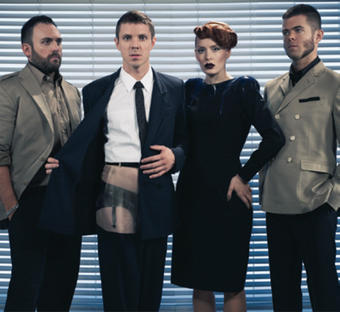 Scissor Sisters, made up of (left to right) Hoffman, Jake Shears, Ana Matronic and Del Marquis, has released three hit albums. photo: Red Light Management