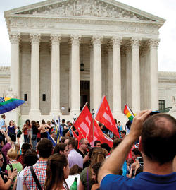 Gathering outside the U.S. Supreme Court after the ruling that same-sex couples have the right to marry in all 50 states. Photo: Rena Schild/Shutterstock.com