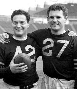 John W. Siegal Sr. '39 (right)  with Sid Luckman '39 in 1938  at Baker Field.