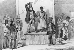 Slave auctions such as this one in Richmond, Va. were commonplace while Lincoln was growing up.Photo: © Bettmann/CORBIS