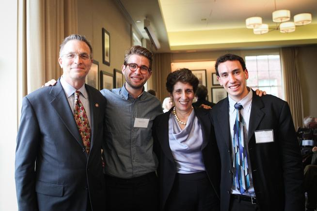 Celebrating at the 2012 Academic Awards and Prizes Ceremony were (left to right) Dean James J. Valentini, salutatorian Zachary Brill '12, Dean of Academic Affairs Kathryn B. Yatrakis and valedictorian Zachary Levine '12. PHOTO: DANIELLA ZALCMAN '09