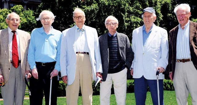 Members of the Class of 1941 who attended the ceremony honoring  Gehrig were (from left) Gene Sosin, Sherwin Kaufman, Wm. Theodore (Ted) de Bary, Ray Robinson, Arthur Friedman and Bob Zucker.PHOTO: NEW YORK YANKEES