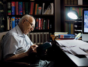 Ehsan Yarshater, seen here in his office, has dedicated 40 years to the Encyclopaedia Iranica project. PHOTO: MARCUS YAM/THE NEW YORK TIMES/REDUX