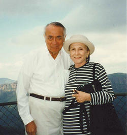 Heffner and his wife of 62 years, Elaine '51 SW, '86 TC, at the 1949 Tanglewood Music Festival, a year prior to their marriage, and on vacation in Sydney, Australia, in 1996. PHOTOS: COURTESY RICHARD D. HEFFNER '46, '47 GSAS