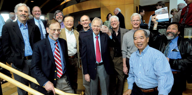 Broecker, surrounded by former students, toasts to 50 years of teaching in the Department of Earth and Environmental Sciences; the special anniversary event and reception was held in April 2010. Pictured back row (left to right) are Michael Bender '70 GSAS; Dennis Adler '82 GSAS; Billy Moore '64 GSAS; Richard Ku '66 GSAS; Rik Wanninkhof '86 GSAS; Broecker; Robbie Toggweiler '75, '83 GSAS; Steve Emerson '74 GSAS and John Wehmiller '71 GSAS. Pictured front row are Kenneth Wolgemuth '72 GSAS (left) and Tsung-Hung Peng '73 GSAS. Photo: Courtesy Lamont-Doherty Earth Observatory