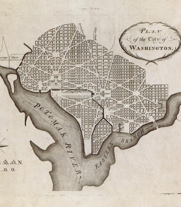 Pierre Charles L'Enfant's plan for the city of Washington, printed by Thackara & Vallance in 1792.Photo: Library of Congress Geography and Map Division
