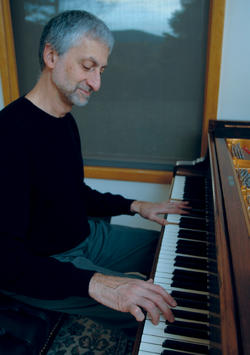 Armen Donelian '72 at sunset, facing west, in his music studio in Hudson, N.Y., where he also hosts the annual Hudson Jazz Workshop. Photo: David Lee